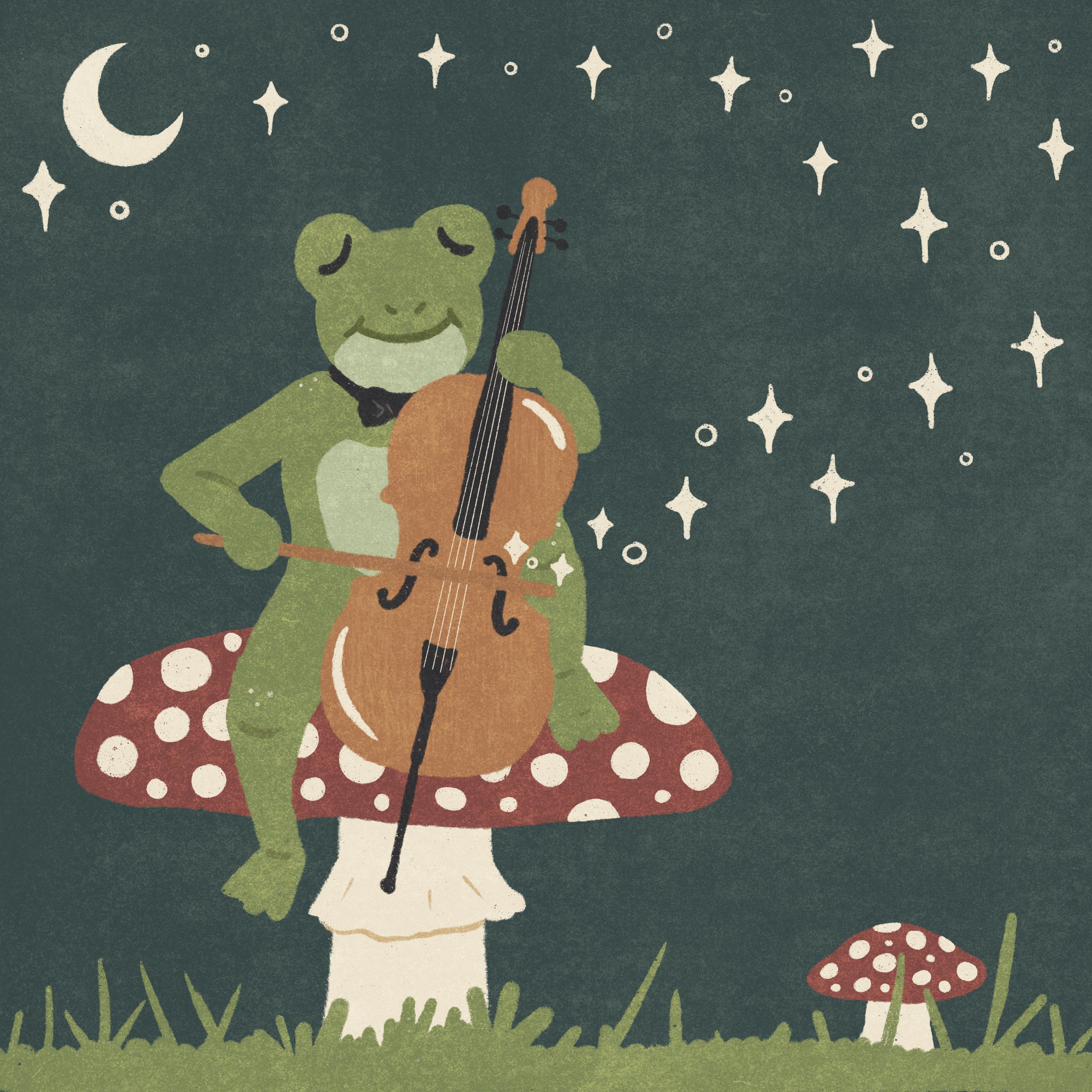 A digital drawing of an anthropomorphic frog wearing a bowtie sitting on a red and white toadstool playing a cello. Stars and sparkles are coming out of the cello and becoming stars in the sky above.