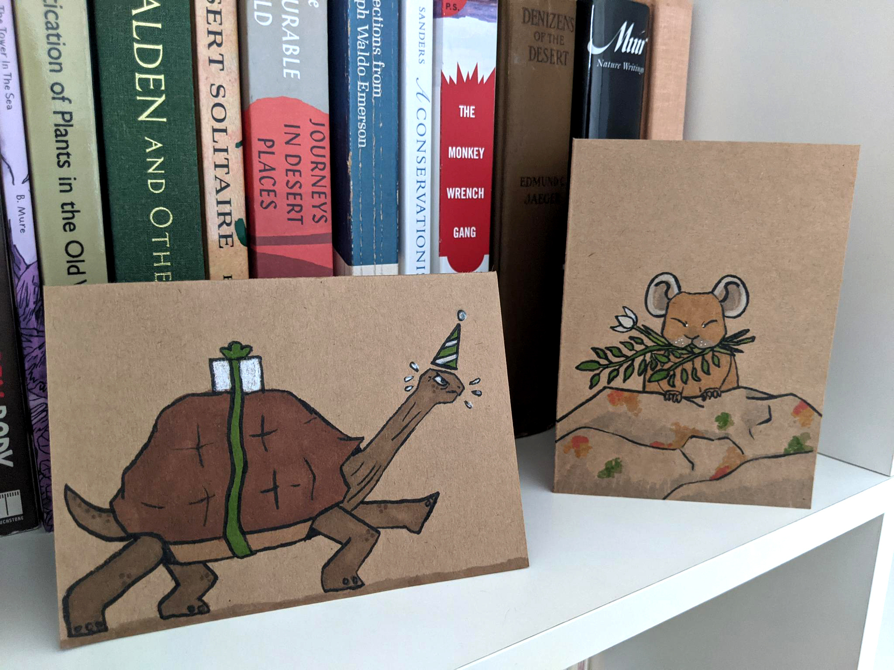 Two hand drawn cards sitting on a bookshelf. Both cards are made of brown craft paper and colored using markers. One has a tortoise rushing to deliver a package and the other has a pika sitting on a big rock with a bunch of flowers and grass in its mouth.