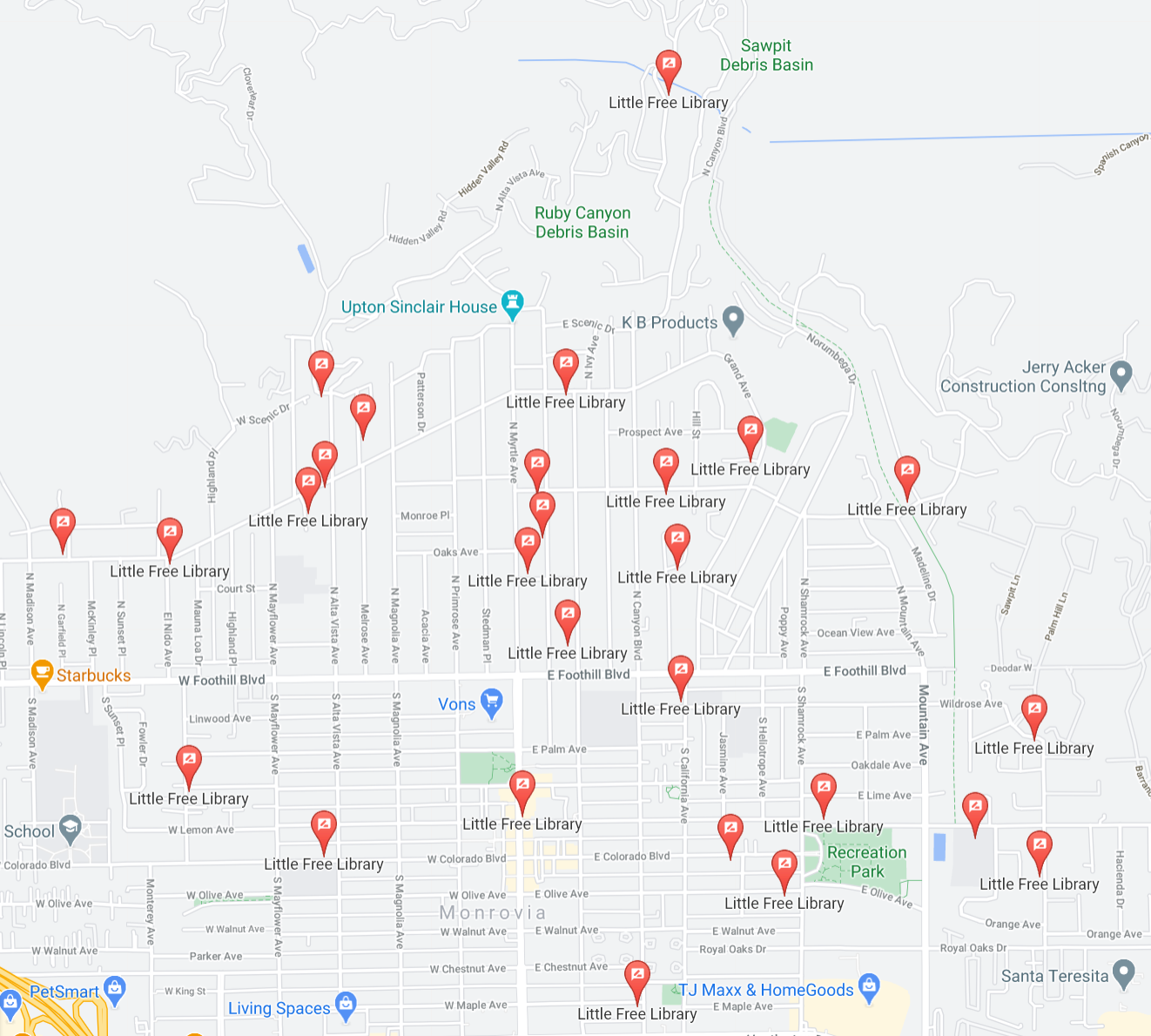 Screenshot of google maps with scattered location icons indicating where libraries are.